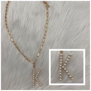 4/$20 BaubleBar Gold & Pearl Letter K Necklace